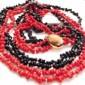 Jewelry - Vintage Red Black Glass Long Layered Necklace